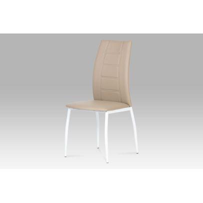 jedálenská stolička, koženka kapučíno, biely lak AC-1195 CAP