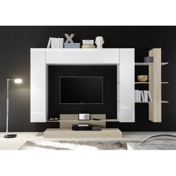 Obývacia stena NICE-01 biela-dub samoa
