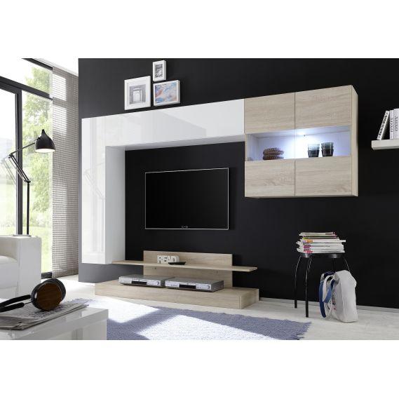Obývacia stena NICE-02 biela-dub samoa